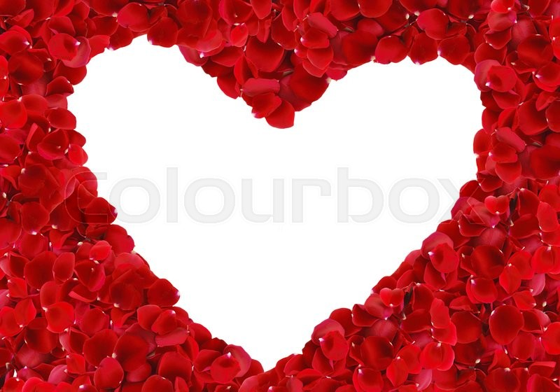 Stock image of 'Red rose petals heart over white background. Top view with copy space'