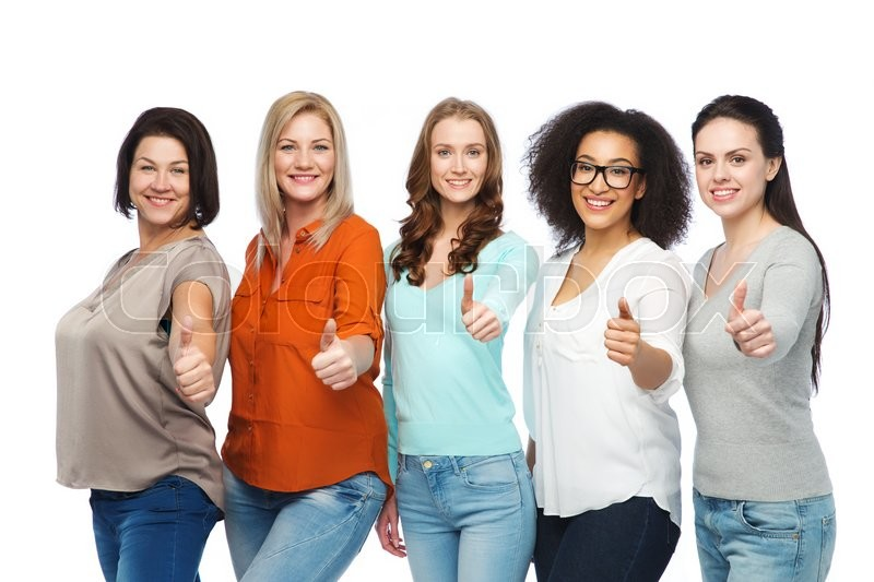 Stock image of 'friendship, fashion, body positive, gesture and people concept - group of happy different size women in casual clothes showing thumbs up'
