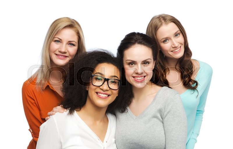 Stock image of 'friendship, fashion, body positive, diverse and people concept - group of happy different women in casual clothes'