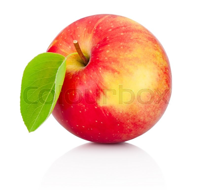 Stock image of 'Red apple with leaf isolated on a white background'