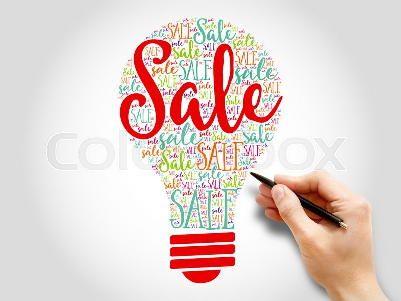 Stock image of 'Sale bulb word cloud business concept'