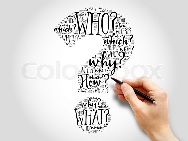 Stock image of 'Question mark, Question word cloud, business concept'