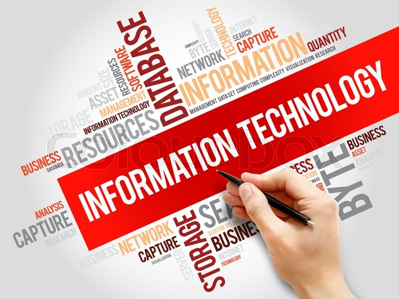 Stock image of 'Information technology word cloud, business concept'