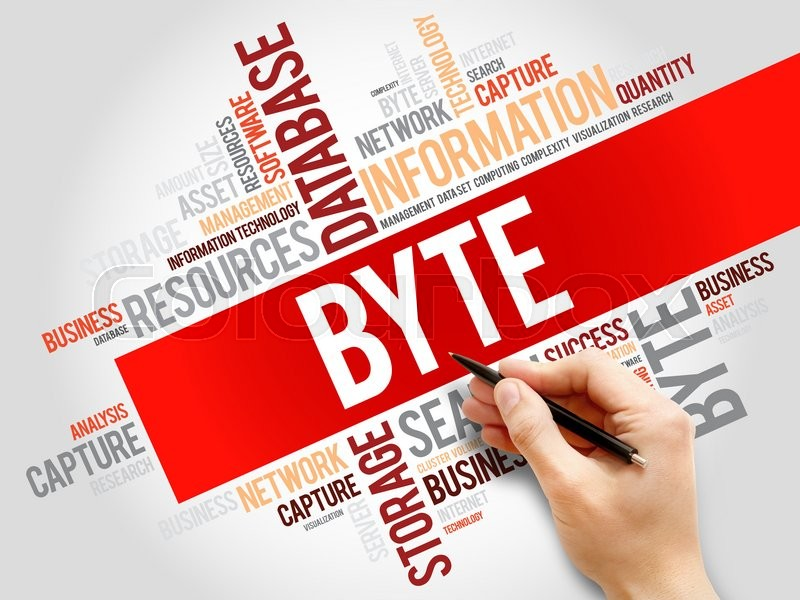 Stock image of 'Byte word cloud, business concept'