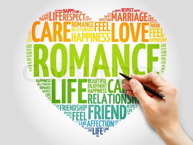 Stock image of 'Romance concept heart word cloud'