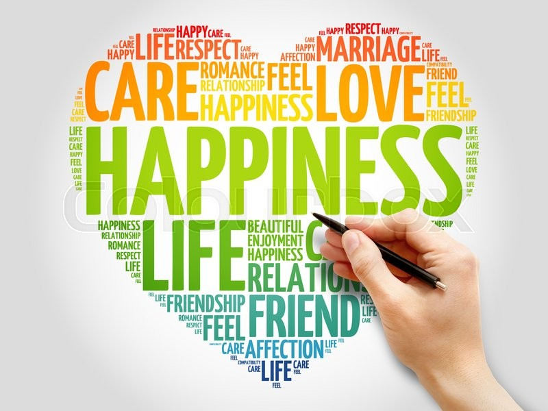 Stock image of 'Happiness concept heart word cloud'