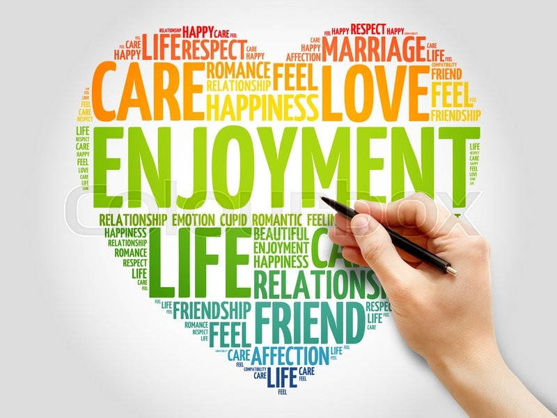 Stock image of 'Enjoyment concept heart word cloud'