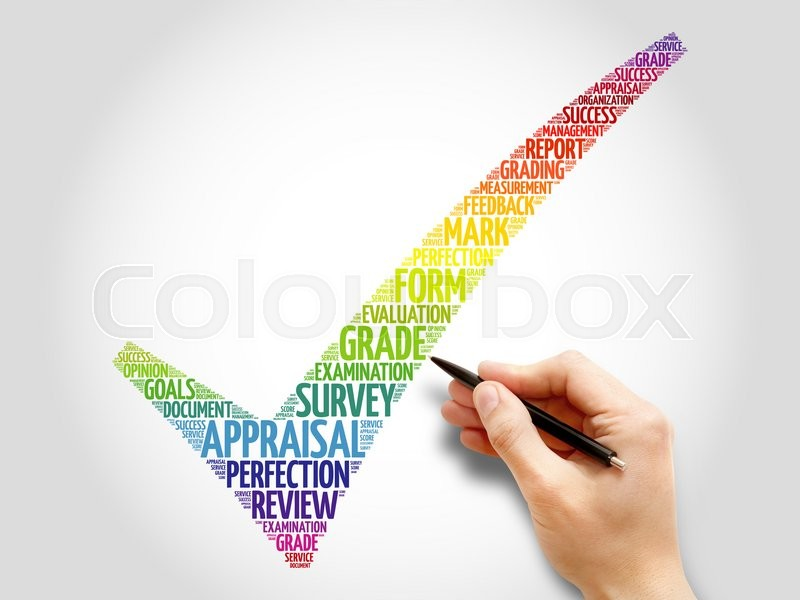Stock image of 'Colorful Appraisal check mark, business concept words cloud'