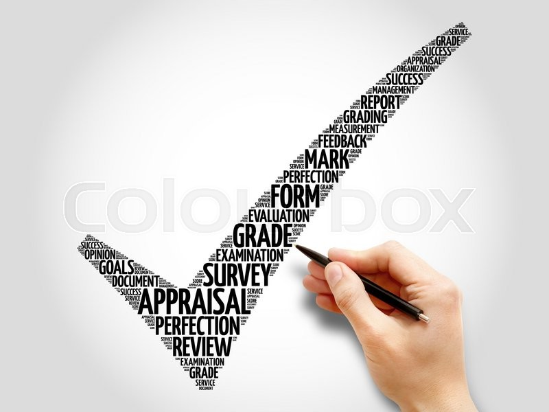 Stock image of 'Appraisal check mark, business concept words cloud'