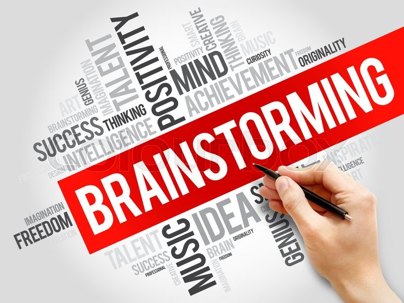 Stock image of 'Brainstorming word cloud, business concept'