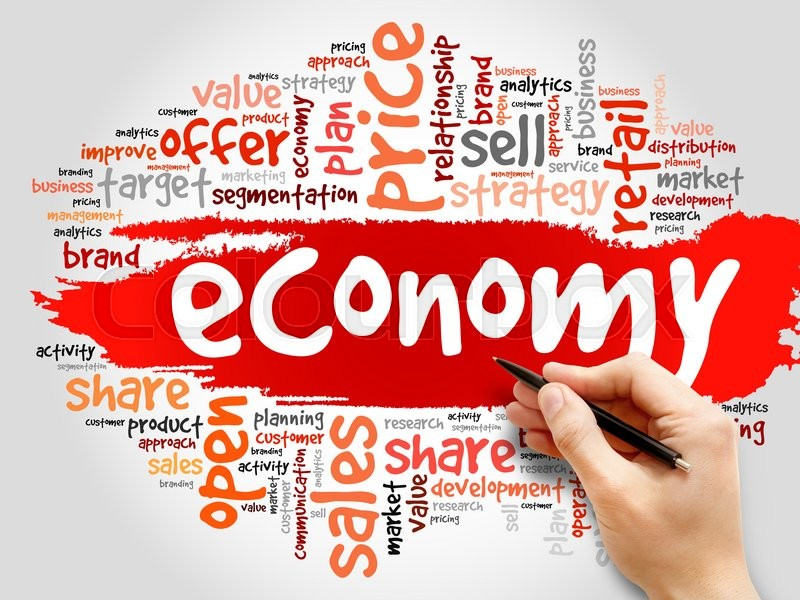 Stock image of 'ECONOMY word cloud, business concept'