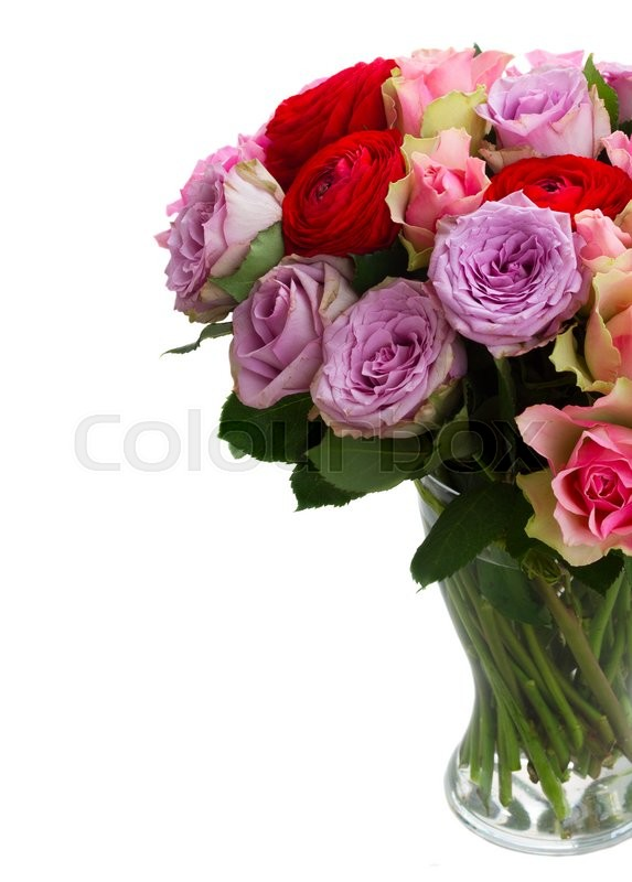 Stock image of 'bouquet of roses and ranunculus  in glass vase close up  isolated on white background'