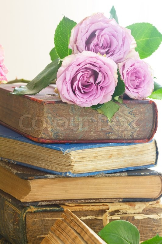 Stock image of 'Stack  of old books with violet  rose flowers'