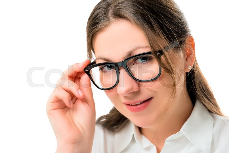 Stock image of 'Businesswoman closeup portrait in black glasses isolated'