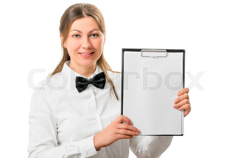 Stock image of 'Beautiful waitress with a notepad isolated on white background'