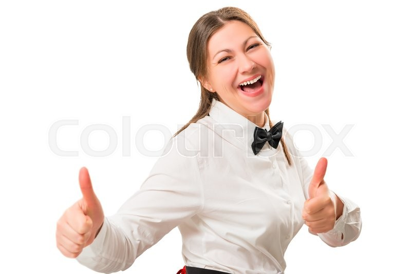Stock image of 'Emotional portrait of a happy girl in the costume a waitress'