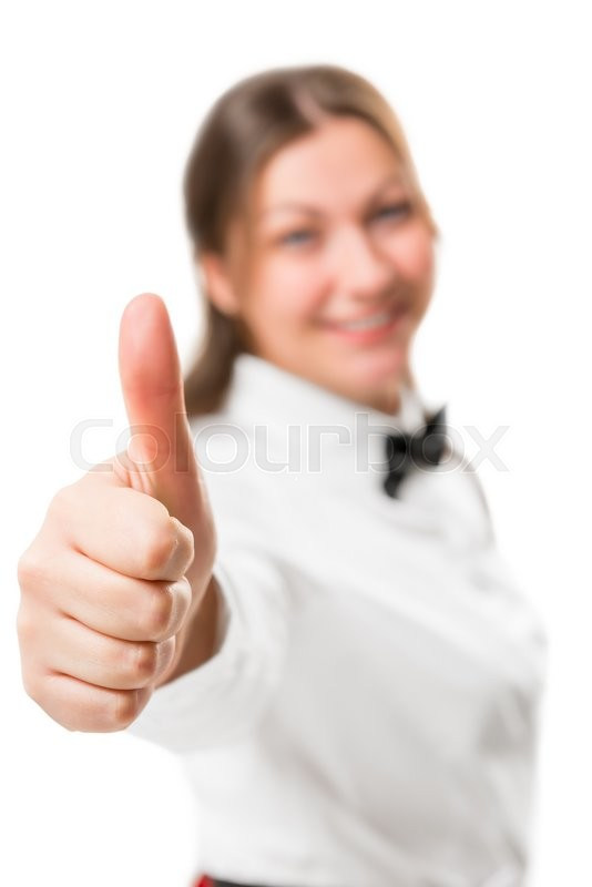 Stock image of 'Girl on a white background shows a hand gesture of satisfaction'