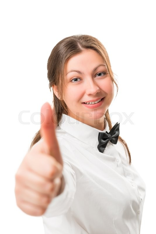 Stock image of 'Portrait of a successful business woman in a black bow tie and white shirt'