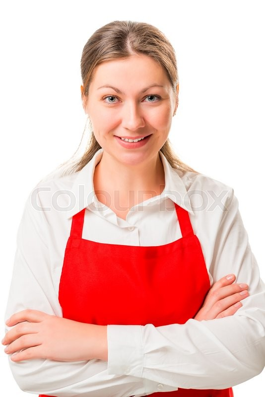 Stock image of 'Portrait of a beautiful brunette in a red apron'