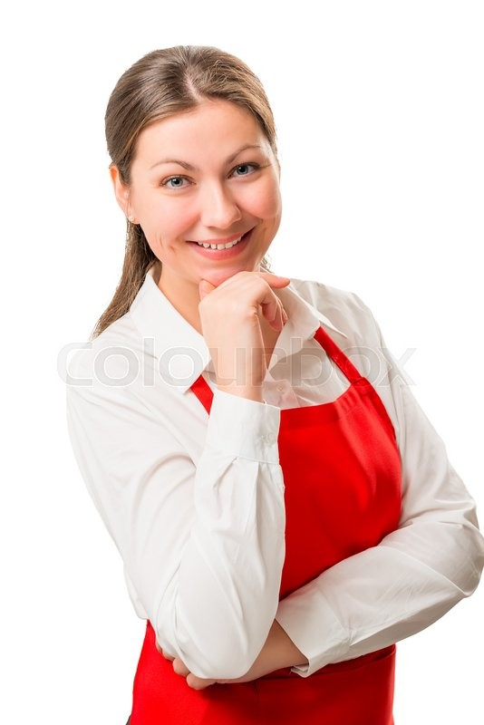 Stock image of 'Female 30 years in red apron, isolated vertical portrait'