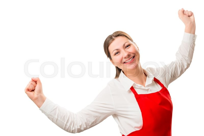 Stock image of 'Successful a housewife in red apron rejoices in isolation'