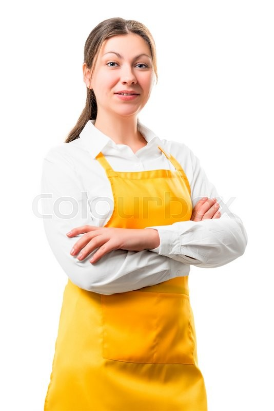 Stock image of 'Portrait of 30-year-old housewife in yellow apron isolation'