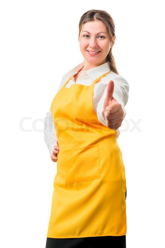 Stock image of 'Successful girl in yellow apron smiling on a white background'