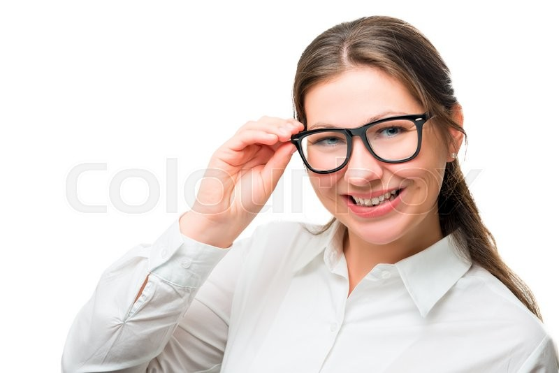 Stock image of 'Horizontal portrait of a beautiful businesswoman in stylish glasses'