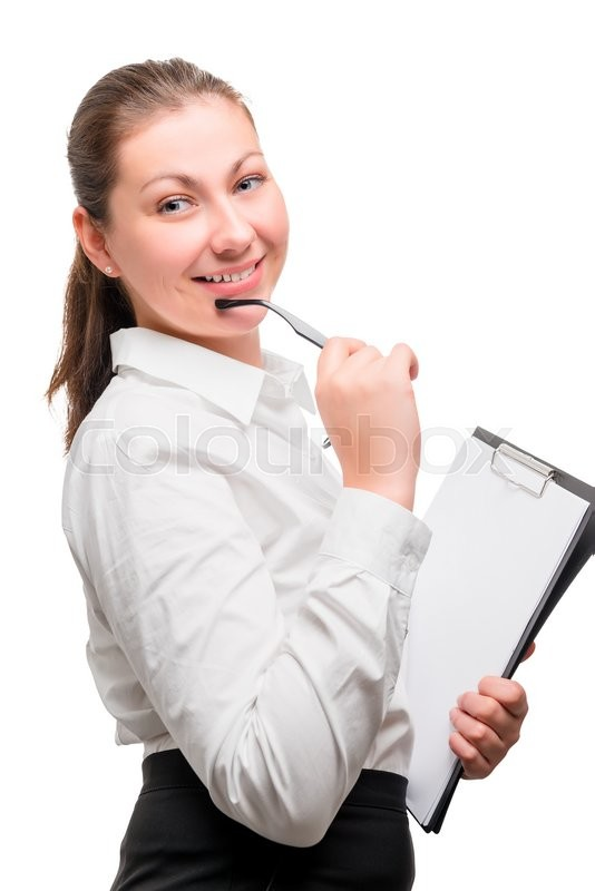 Stock image of 'Portrait of a beautiful woman in office clothes on a white background'