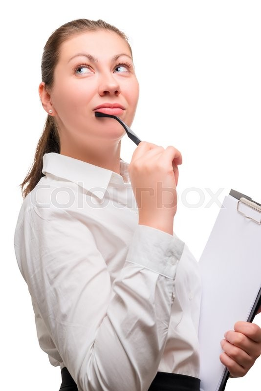 Stock image of 'Young beautiful woman office worker is thinking'