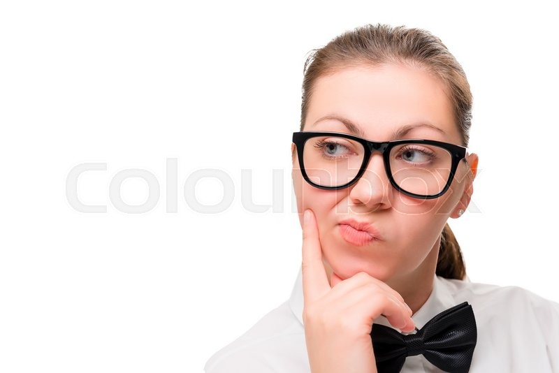 Stock image of 'Woman's face in close-up thinking on white background'