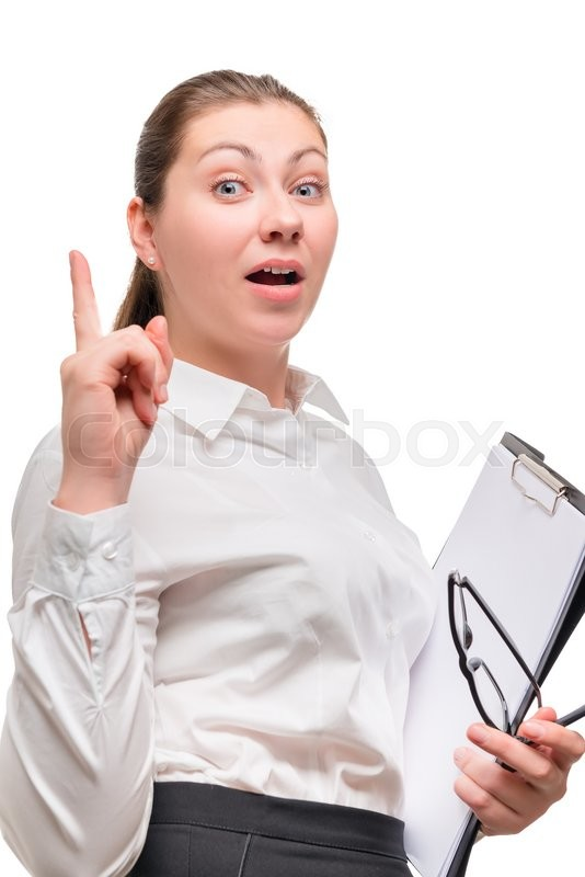 Stock image of 'Businesswoman came up with a great idea gesture of hand'