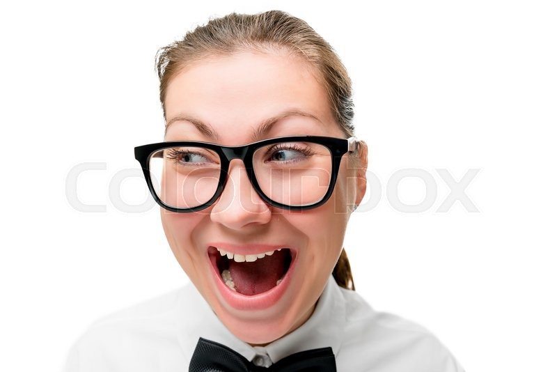 Stock image of 'Woman in fashion glasses screaming on a white background, face closeup'