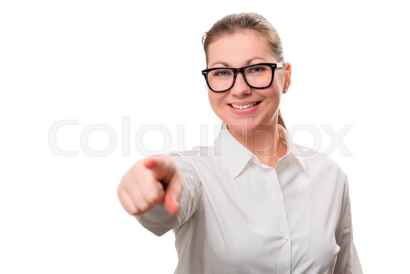 Stock image of 'Businesswoman showing his finger at the camera on a white background'