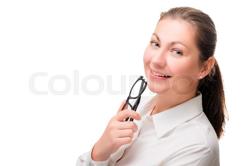 Stock image of 'Charming brunette holding glasses and smiling isolated'