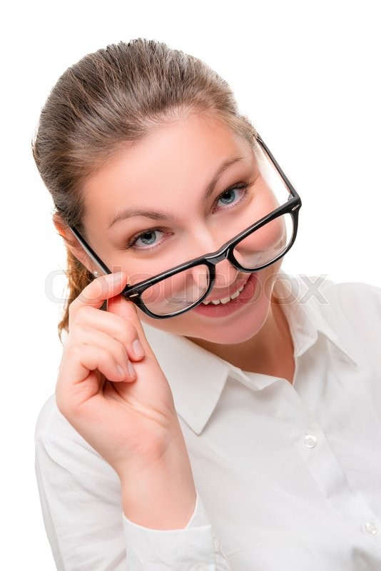 Stock image of 'Playful secretary wearing glasses on a white background'