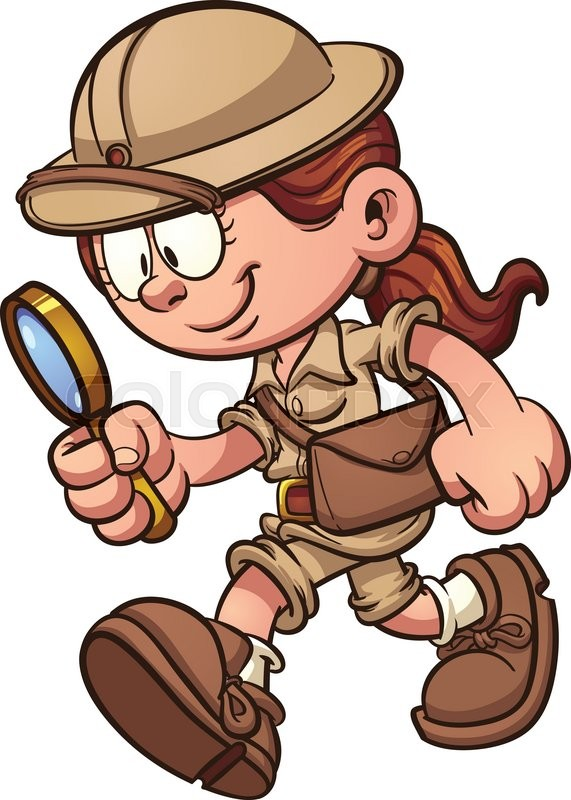 Cartoon safari girl looking through a magnifying glass vector cartoon safari girl looking through a magnifying glass vector clip art illustration with simple gradients all in a single layer voltagebd Gallery