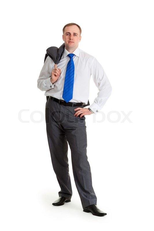 junger gesch ftsmann in eine blaue krawatte mit einer jacke ber die schulter stockfoto. Black Bedroom Furniture Sets. Home Design Ideas