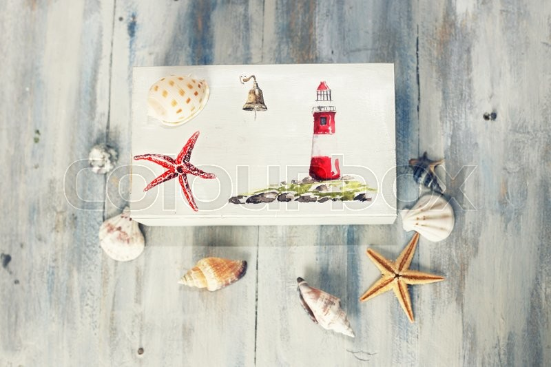 Stock image of 'Photo of travel box & sea shells'