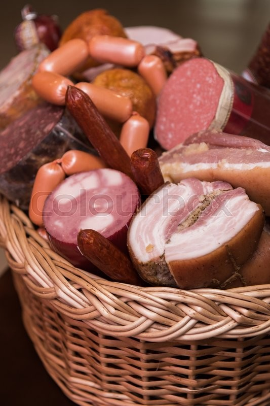 Stock image of 'Variety of sausage products. close-up '