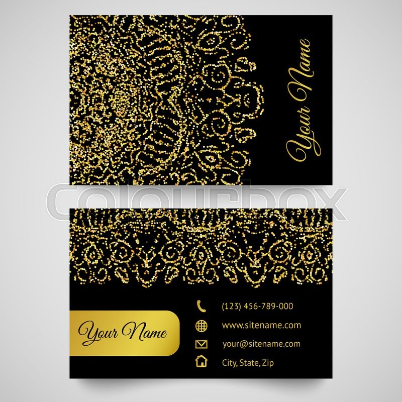 Stock image of 'Gold business card template, bright golden pattern. illustration for modern design. Beautiful ornament. Yellow and black colors.'