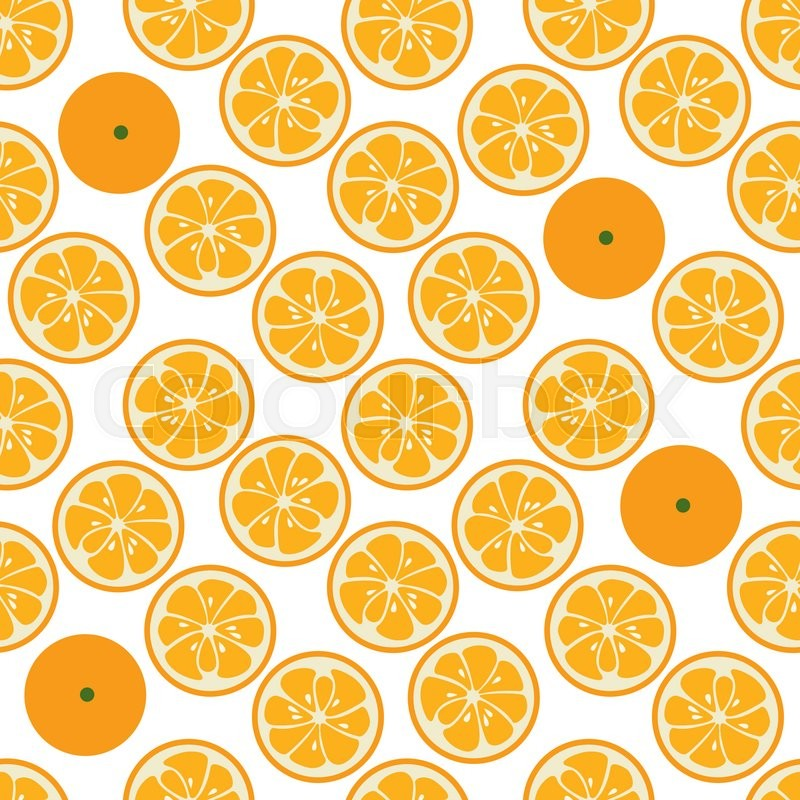 Stock image of 'Cute seamless pattern with orange slices. Tasty summer background. Yummy tropical fruits endless texture. Can be used for wallpapers, banners, posters. Delicious healthy fruits. illustration'