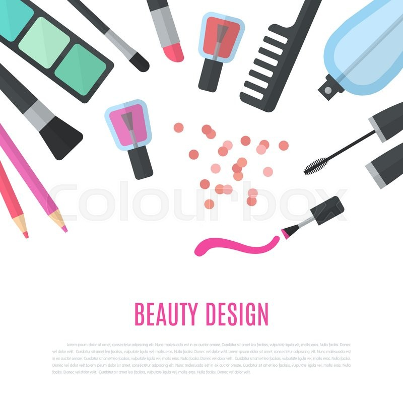 Stock image of 'Beauty design. Cosmetic accessories for make-up. Professional products of high quality. Cosmetology and SPA. illustration for promotional booklets, brochures, banner, leaflets. Flat design'