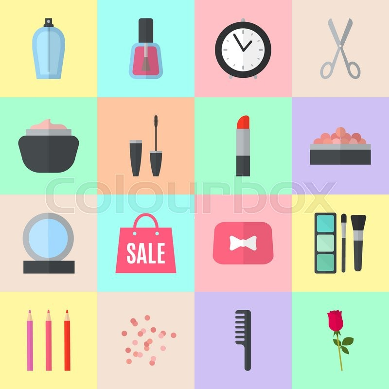 Stock image of 'Make up flat icons. illustration for cosmetic design. Beauty style isolated on colorful background. Make-up artist objects. Makeup accessories for pretty woman. Bright colors.'