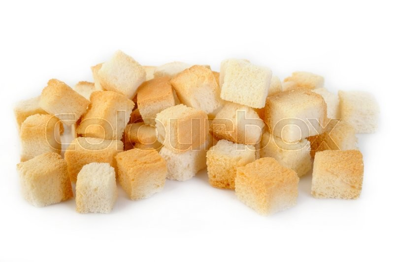 Stock image of 'bread cube on white background'