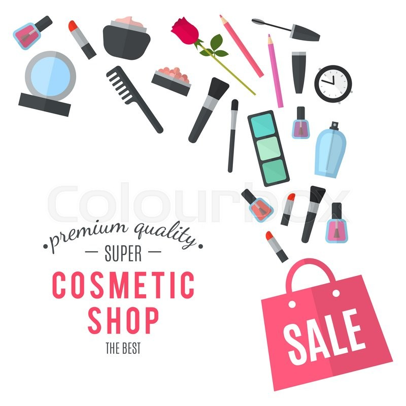 Stock image of 'Make up concept flat illustration with lipstick, comb, brush, palette, perfume, nail Polish in women purse. Beauty design isolated on white background. Make-up artist objects. Cosmetic bag.'