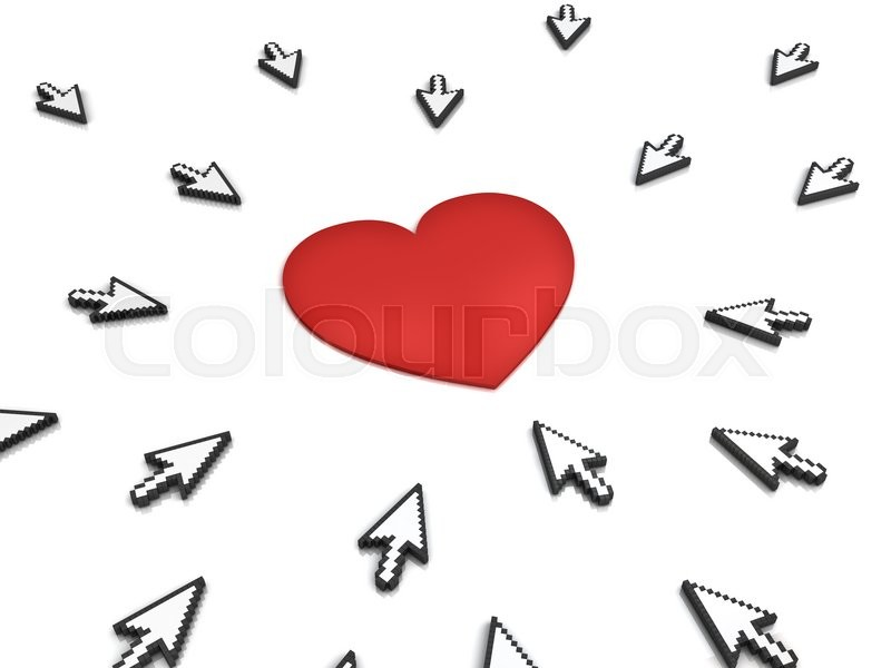 Stock image of 'Many arrow cursors mouse clicking red heart button or link isolated on white background with reflection. 3D rendering.'