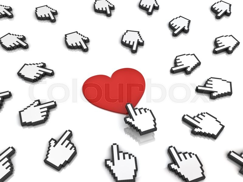 Stock image of 'Many hand cursors mouse clicking red heart button or link isolated on white background.3D rendering.'