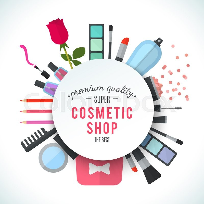 Stock image of 'Professional quality cosmetics shop stylish logo. Accessories and cosmetics. Luxury cosmetics symbol. Organic store. Natural products. Elegant collection of treatment items. Flat illustration'