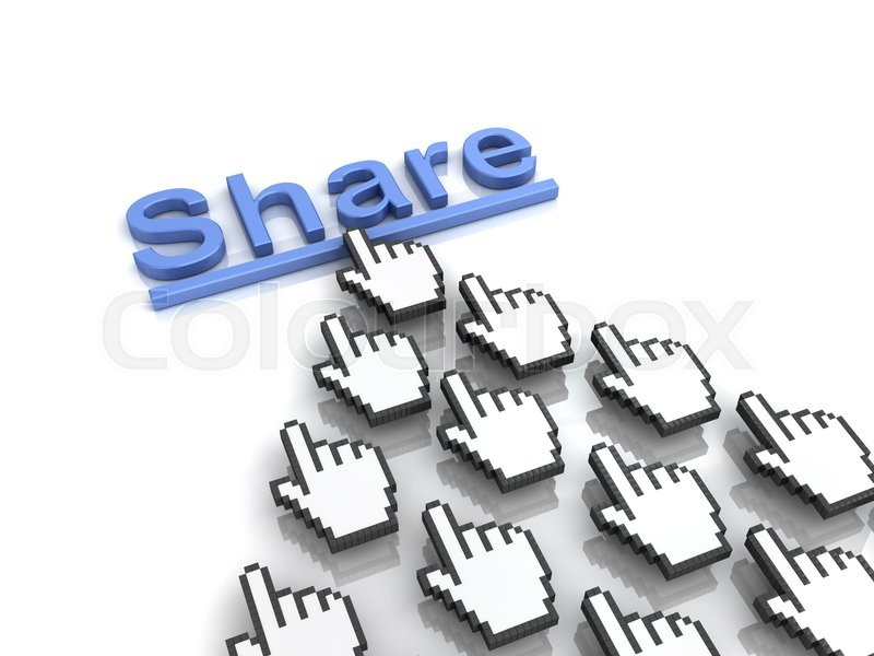 Stock image of 'Share concept many hand cursors mouse clicking share button or link on white background with reflection. 3D rendering.'